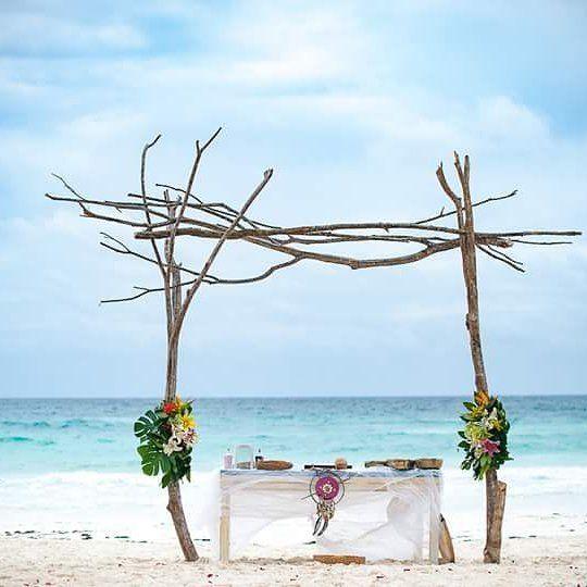 Tulum beach driftwood Wedding arbor