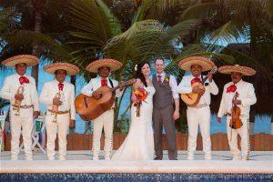 Tulum wedding couple with mariachis